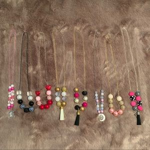 Bubblegum bead chain necklace set of 8 (used)